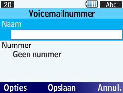 Samsung S3570 Chat 357 - Voicemail - Handmatig instellen - Stap 7
