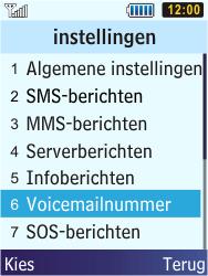 Samsung S5610 Primo - Voicemail - handmatig instellen - Stap 6