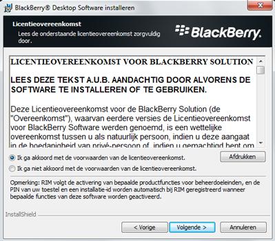 BlackBerry 9900 Bold Touch - Software - Download en installeer PC synchronisatie software - Stap 6