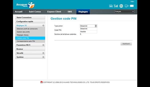 Huawei E587 - Sécuriser votre mobile - Personnaliser le code PIN - Étape 6