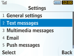 Samsung S3350 Chat 335 - SMS - Manual configuration - Step 5