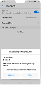 Huawei P20 Pro - Bluetooth - Pair with another device - Step 7