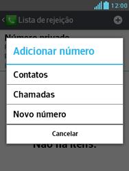 LG E430 Optimus L3 II - Chamadas - Como bloquear chamadas de um número específico - Etapa 9