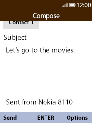Nokia 8110 Banana - Email - Sending an email message - Step 8