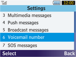 Samsung S3570 Chat 357 - Voicemail - Manual configuration - Step 8