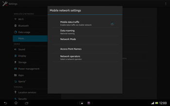 Sony SGP321 Xperia Tablet Z LTE - Network - Usage across the border - Step 6