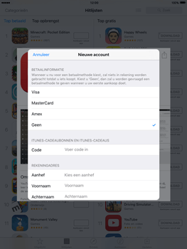 Apple iPad Air met iOS 9 (Model A1475) - Applicaties - Account aanmaken - Stap 17