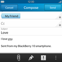 BlackBerry Q10 - Email - Sending an email message - Step 11