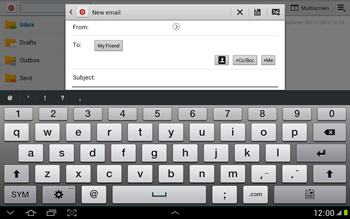 Samsung N8000 Galaxy Note 10-1 - E-mail - Sending emails - Step 8