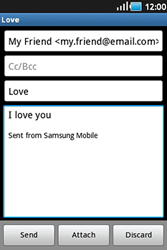 Samsung S5830 Galaxy Ace - Email - Sending an email message - Step 8