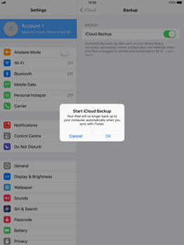 Apple iPad Air - iOS 11 - Device maintenance - Create a backup of your data - Step 9