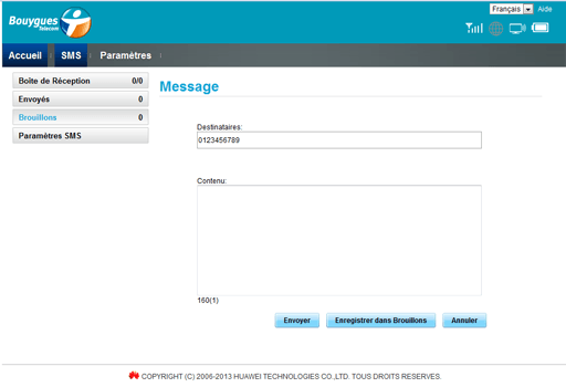 Alcatel MW40V - Contact, Appels, SMS/MMS - Envoyer un SMS - Étape 5
