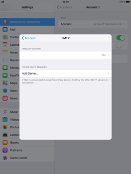 Apple iPad Air 2 - iOS 11 - E-mail - Manual configuration IMAP without SMTP verification - Step 23