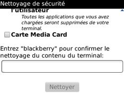 BlackBerry curve 3G - Aller plus loin - Restaurer les paramètres d'usines - Étape 8