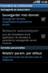 Samsung Galaxy Ace - Aller plus loin - Restaurer les paramètres d'usines - Étape 5
