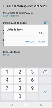 Samsung Galaxy J8 - Rede móvel - Como definir um aviso e limite de uso de dados - Etapa 14