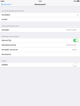 Apple iPad Air 2 iOS 9 - E-mail - Account instellen (POP3 met SMTP-verificatie) - Stap 22