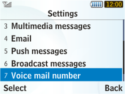 Samsung S3350 Chat 335 - Voicemail - Manual configuration - Step 5