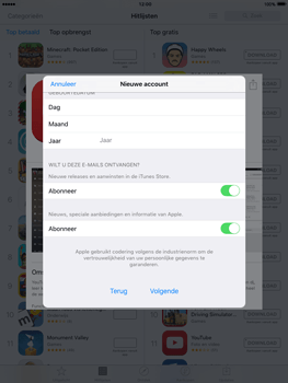 Apple iPad Air iOS 9 - Applicaties - Account aanmaken - Stap 15