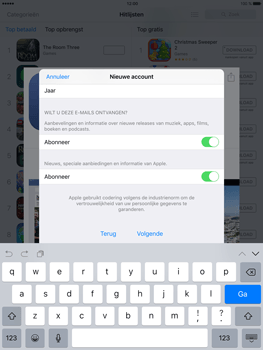Apple iPad Mini 4 - Applicaties - Account aanmaken - Stap 15