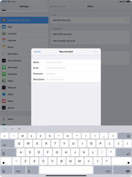 Apple iPad Pro 12.9 (2018) - Email - Manual configuration POP3 with SMTP verification - Step 7
