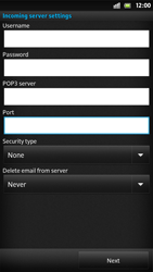 Sony LT26i Xperia S - E-mail - Manual configuration - Step 10