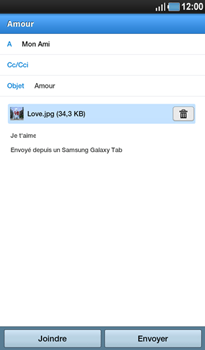 Samsung P1000 Galaxy Tab - E-mail - Envoi d
