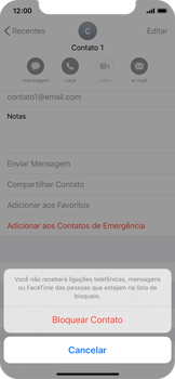 Apple iPhone X - iOS 13 - Chamadas - Como bloquear chamadas de um número específico - Etapa 6