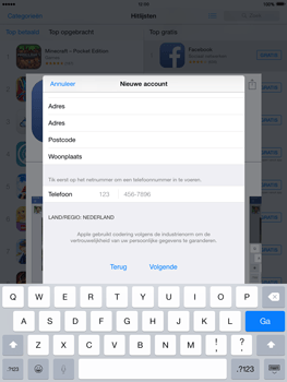 Apple iPad mini retina iOS 8 - Applicaties - Account aanmaken - Stap 22