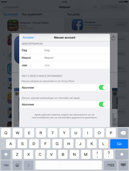 Apple iPad Mini Retina met iOS 8 - Applicaties - Account aanmaken - Stap 15