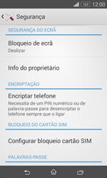Sony Xperia E1 - Segurança - Como ativar o código PIN do cartão de telemóvel -  5