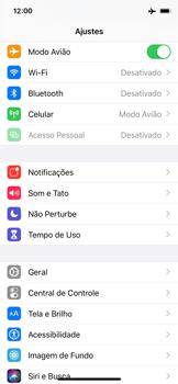 Apple iPhone X - iOS 13 - Rede móvel - Como ativar e desativar o modo avião no seu aparelho - Etapa 4