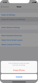 Apple iPhone X - iOS 12 - Device - Reset to factory settings - Step 7