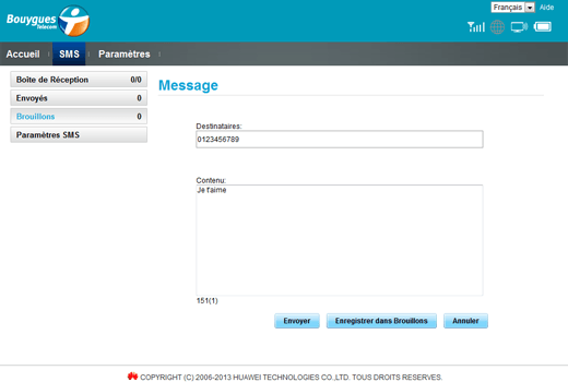 Huawei E5372 - Contact, Appels, SMS/MMS - Envoyer un SMS - Étape 6