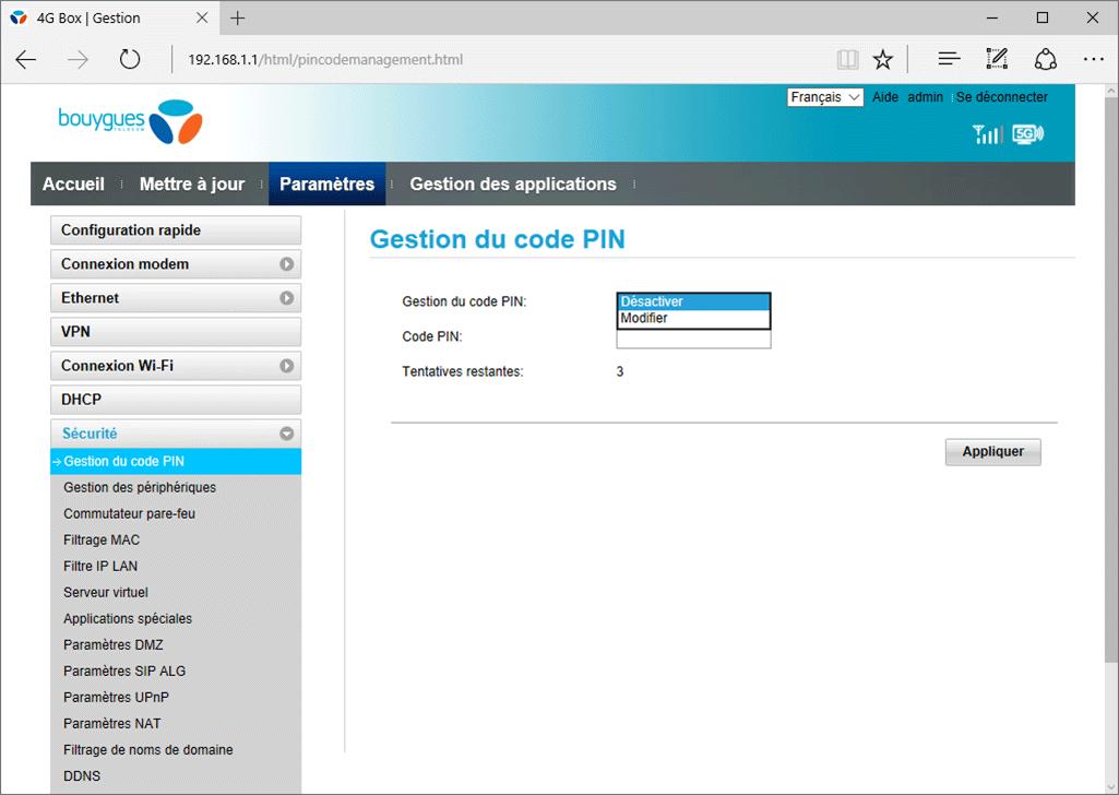 Huawei E5785L - Sécuriser votre mobile - Personnaliser le code PIN - Étape 6