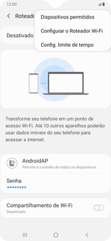 Samsung Galaxy A20 - Wi-Fi - Como usar seu aparelho como um roteador de rede wi-fi - Etapa 8