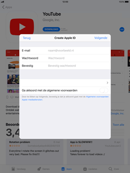 Apple iPad Pro 12.9 - iOS 11 - Applicaties - Account aanmaken - Stap 7