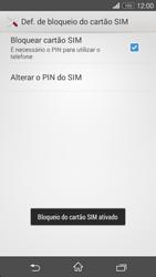 Sony Xperia M2 - Segurança - Como ativar o código PIN do cartão de telemóvel -  8