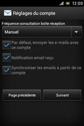 Sony ST23i Xperia Miro - E-mail - Configurer l