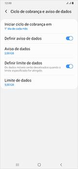 Samsung Galaxy A50 - Rede móvel - Como definir um aviso e limite de uso de dados - Etapa 15