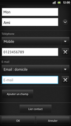 Sony Xpéria S - Contact, Appels, SMS/MMS - Ajouter un contact - Étape 13