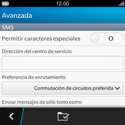 BlackBerry Q5 - Mensajería - Configurar el equipo para mensajes de texto - Paso 7