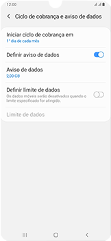 Samsung Galaxy A50 - Rede móvel - Como definir um aviso e limite de uso de dados - Etapa 7