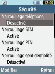 Samsung C3590 - Sécuriser votre mobile - Activer le code de verrouillage - Étape 5