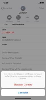 Apple iPhone iOS 12 - Chamadas - Como bloquear chamadas de um número específico - Etapa 6