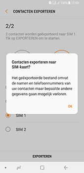 Samsung galaxy-a8-2018-sm-a530f-android-oreo - Contacten en data - Contacten kopiëren van toestel naar SIM - Stap 13