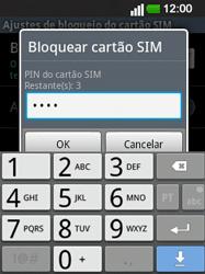 LG E400 - Segurança - Como ativar o código PIN do cartão de telemóvel -  8