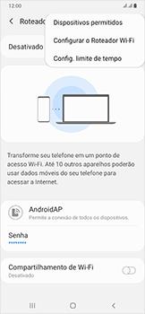 Samsung Galaxy A50 - Wi-Fi - Como usar seu aparelho como um roteador de rede wi-fi - Etapa 8