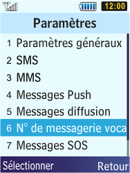 Samsung S5610 Primo - Messagerie vocale - configuration manuelle - Étape 6
