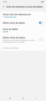 Samsung Galaxy A20 - Rede móvel - Como definir um aviso e limite de uso de dados - Etapa 7
